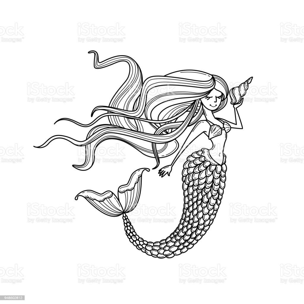 Mermaid or siren silhouette vector art illustration