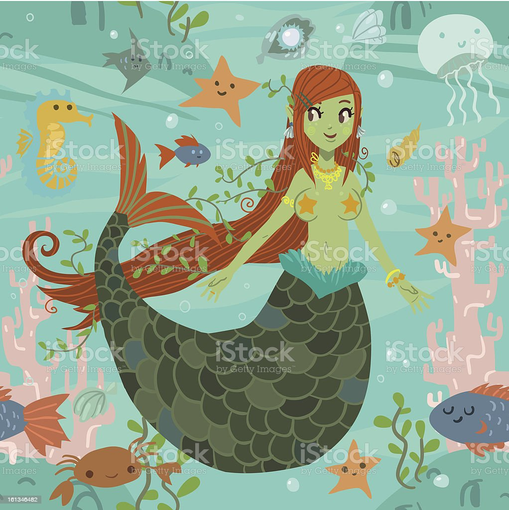 Mermaid pattern vector art illustration