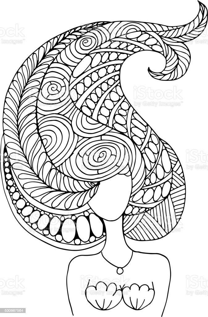 Meerjungfrau Porträt Skizze Für Ihr Design Stock Vektor Art Und Mehr