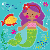 Mermaid Princess Vector Illustration