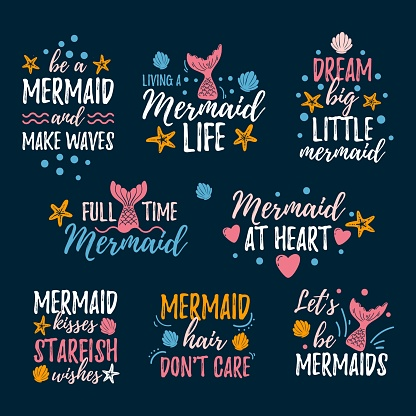 Mermaid prints and quotes set