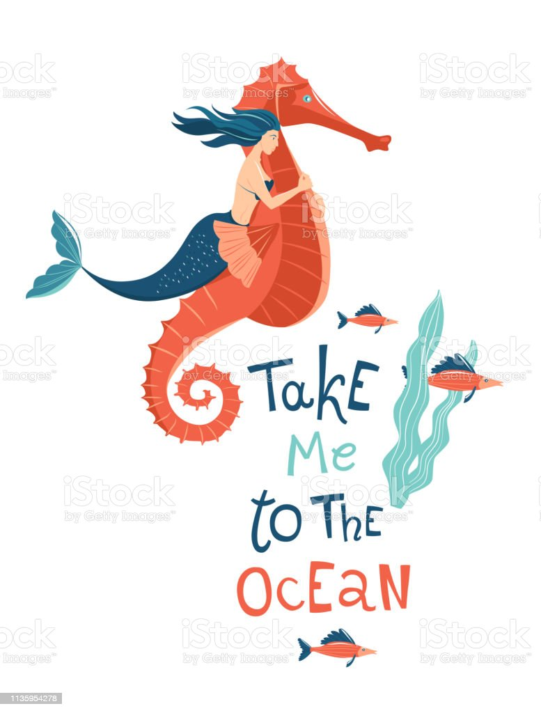 Mermaid Riding Sea Horse Hand Drawn Quote Lettering Marine Mythical Creature Stock Illustration Download Image Now Istock