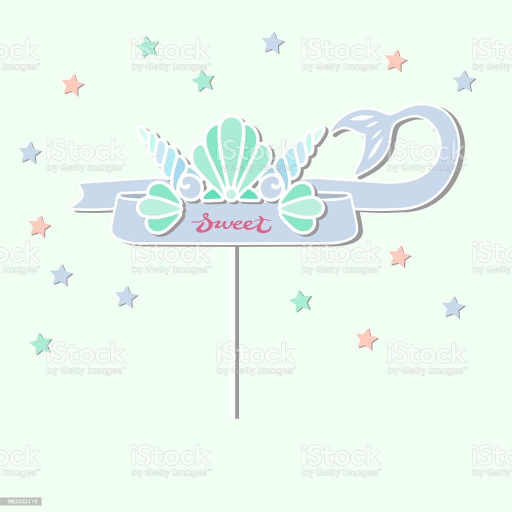 Coroa de Shell do mar sereia e fita com cauda de sereia - ilustração de arte em vetor