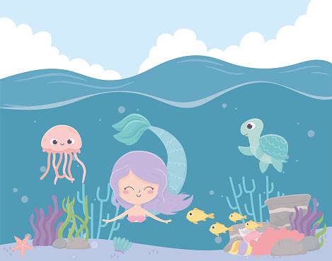 mermaid seahorse jellyfish fishes reef coral cartoon under the sea