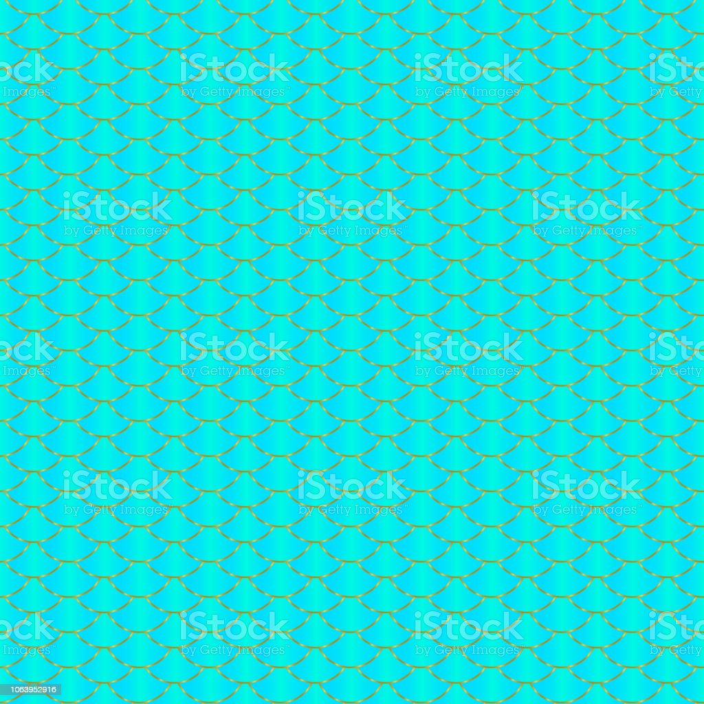 mermaid seamless pattern blue mint green and gold fish scale texture