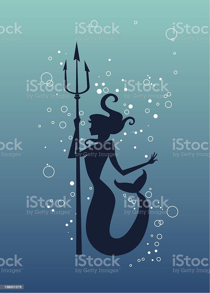 silhouette a sirena con Tridente spear - illustrazione arte vettoriale