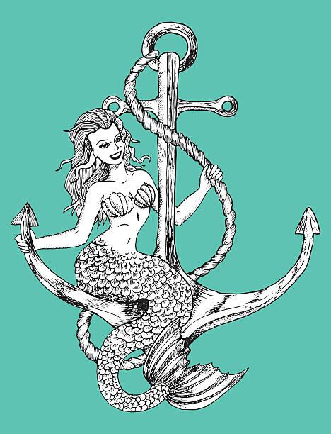mermaid sitting on anchor - mermaid tattoos stock illustrations, clip art, cartoons, & icons