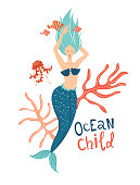 Mermaid swimming in the sea hand drawn flat vector character. Ocean child lettering. Underwater magical life. Blue hair girl tail illustration. Marine mythical creature and fish, seaweed cartoon clipart