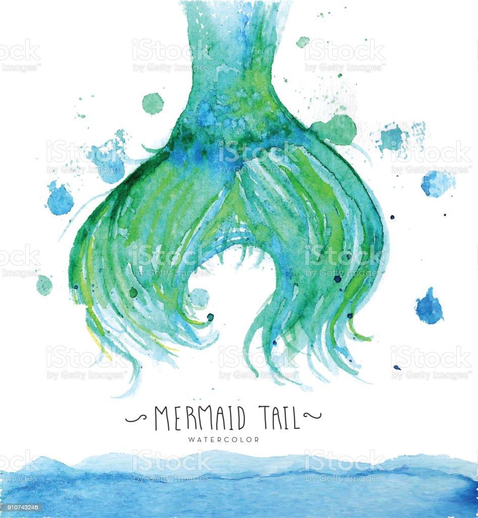 Mermaid tail watercolor vector art illustration