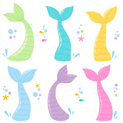 Mermaid tails collection. Vector illustration