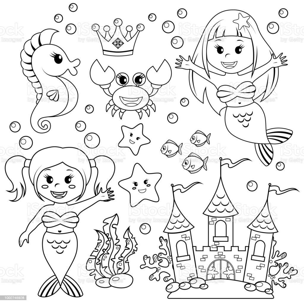 人魚水中の城と海の動物魚ヒトデタツノオトシゴカニcrovn黒と白の