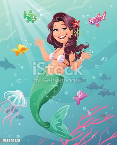 Illustration of a cute cheerful mermaid with long dark hair and a green swimming underwater. She is sourounded by curious little fish, corals and jellyfish.