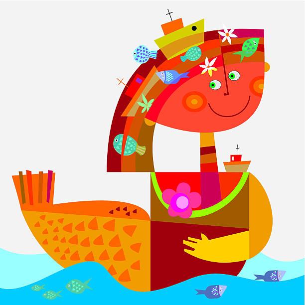 ilustraciones, imágenes clip art, dibujos animados e iconos de stock de sirena - tintanegra00
