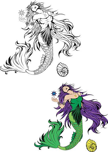 illustrations, cliparts, dessins animés et icônes de sirène - tatouages de sirène