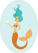 Mermaid holding a pearl featuring a orange and teal color scheme.