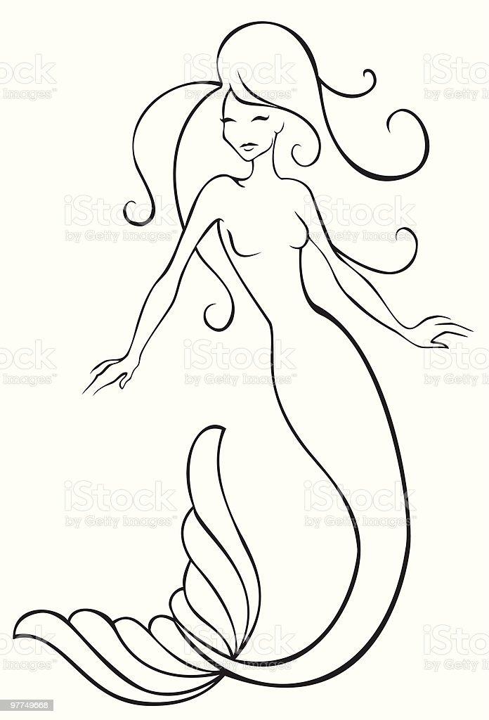 Delightful Mermaid Vector Art Illustration