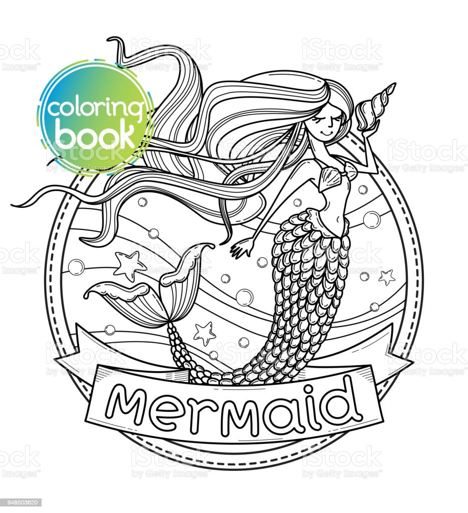 Mermaid vector сoloring book page vector art illustration