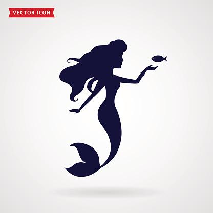 Mermaid vector silhouette.