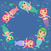 Mermaid with blue and pink hair cute kawaii girl coral fish, card banner design, copy space, on dark blue background. Vector