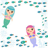Mermaid with blue and pink hair cute kawaii girl coral fish, card banner design, copy space, on white background. Vector