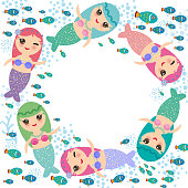 Mermaid with blue green and pink hair cute kawaii girl coral fish, card banner design, wreath round frame for your text, copy space, on white background. Vector