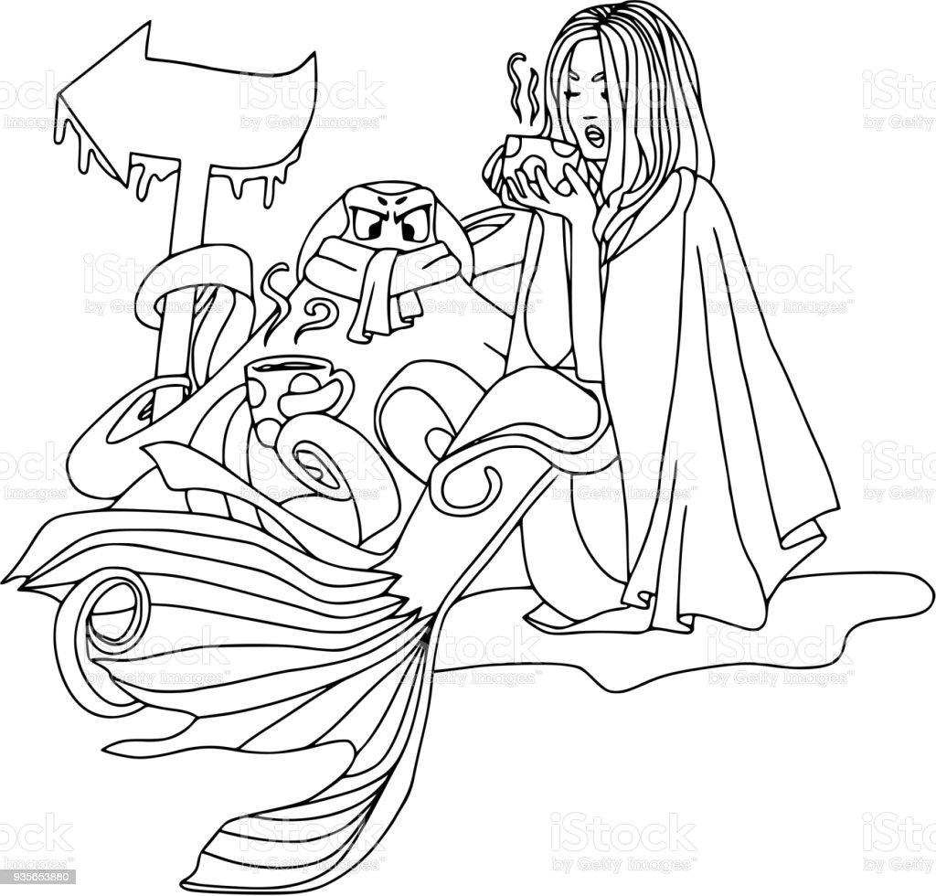 Ilustración de Sirena Con Taza De Café Y Pulpo Insatisfecho ...