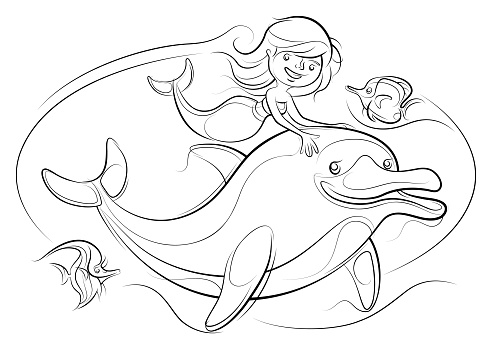mermaid with dolphin and tropical fishes line drawing