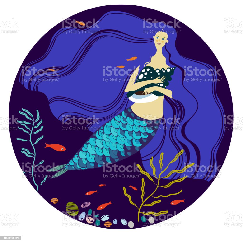 Meerjungfrau Mit Langen Blauen Haaren Stock Vektor Art Und Mehr