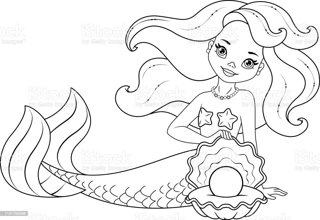 mermaid with pearl coloring page stock vector more
