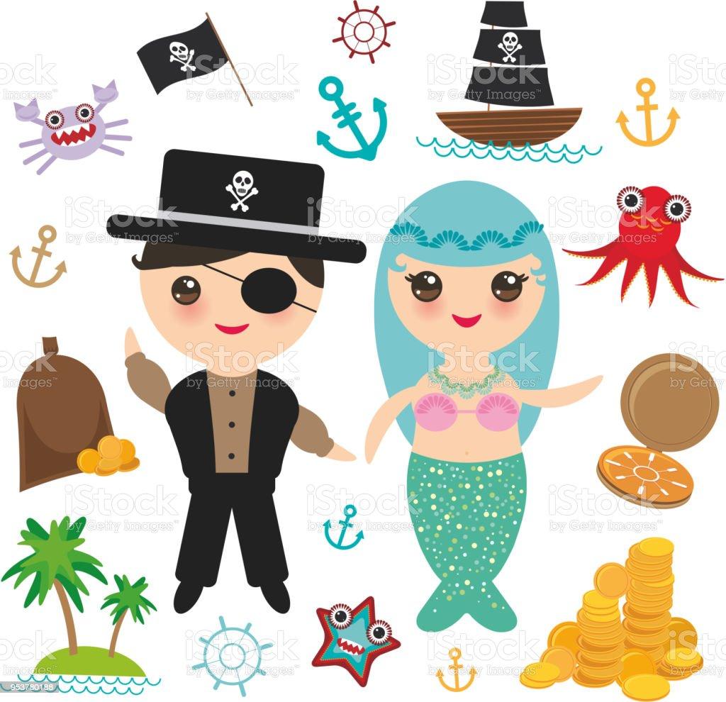 Ilustración de Sirena Con Espacio De Copia De Pirata Tarjeta Banner ...