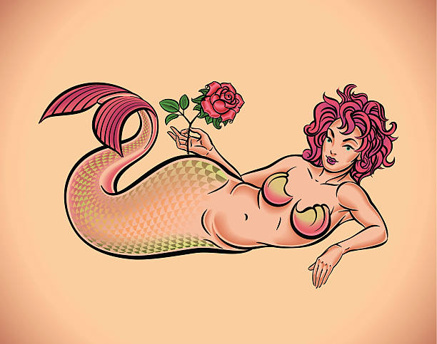 Mermaid with red rose vector art illustration