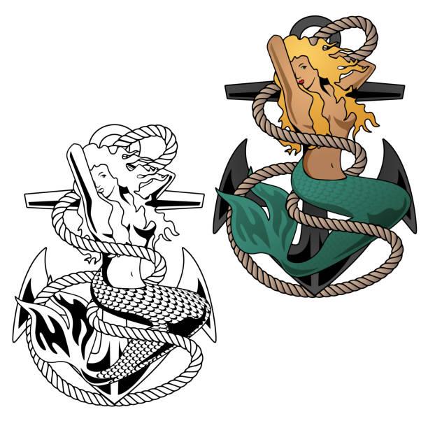 illustrations, cliparts, dessins animés et icônes de femme sirène sur illustration vectorielle ancre - tatouages de sirène