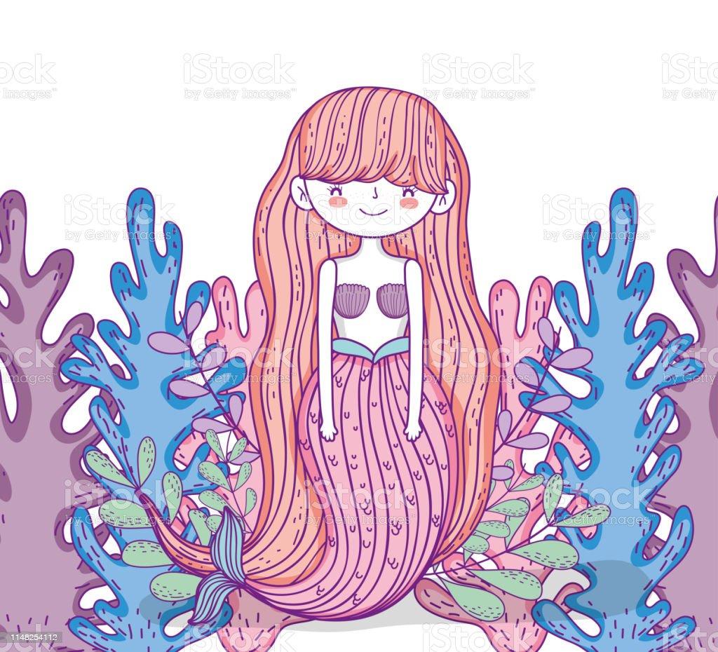 Meerjungfrau Mit Frisur Und Algenpflanzen Stock Vektor Art Und Mehr