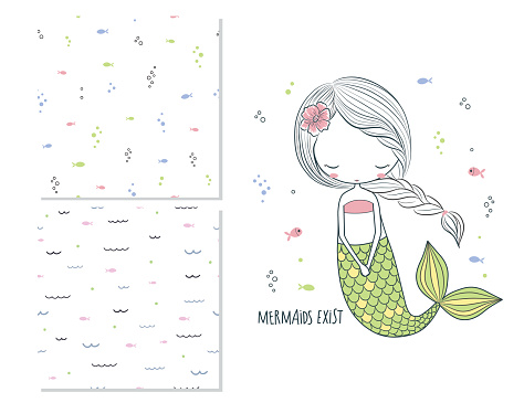 Mermaids exist. Surface design for kids and 2 seamless patterns