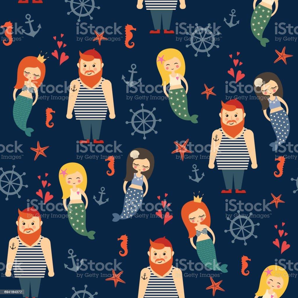 Meerjungfrauen Mädchen mit Seemann, Anker, Seestern nahtlose Muster auf dunkelblauem Hintergrund. – Vektorgrafik
