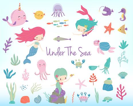 Mermaids, sea animals and sea plants