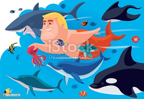 istock merman swimming with sea creatures 1165086928