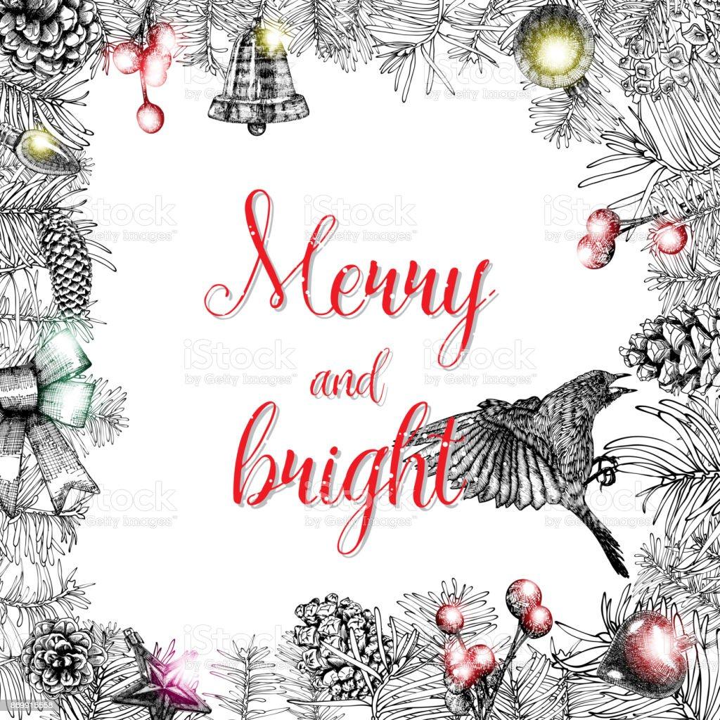 Fröhlich Und Hell Weihnachtsgrußkarte Mit Bürste Kalligraphie Roten ...