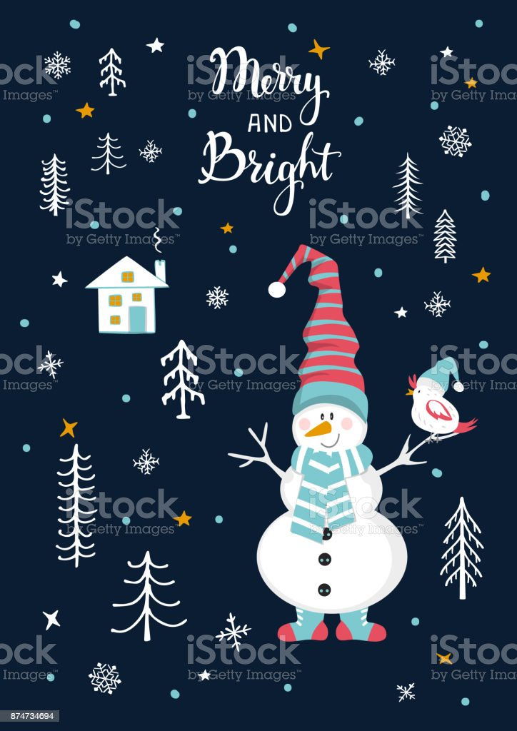 Merry And Bright Christmas Greeting Card With Cute Snowman