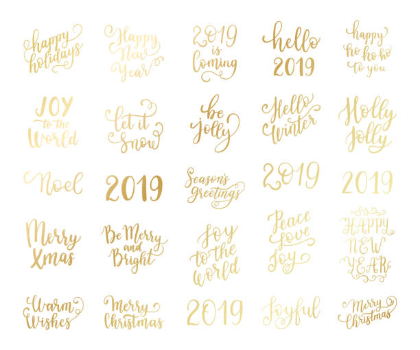 merry and bright christmas, happy holidays, happy new year labels, emblems, logo, text, greeting cards set. vector winter holidays backgrounds with hand lettering calligraphy. golden gradient - happy holidays stock illustrations, clip art, cartoons, & icons