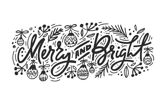 Merry And Bright Christmas Lettering clipart
