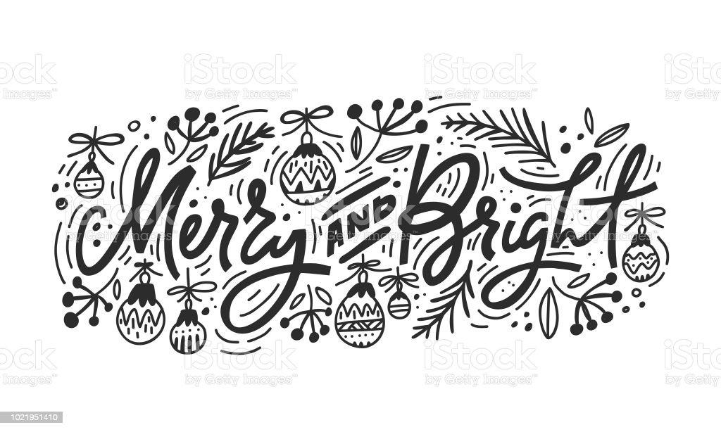 Lettrage de Noël joyeux et lumineux - Illustration vectorielle