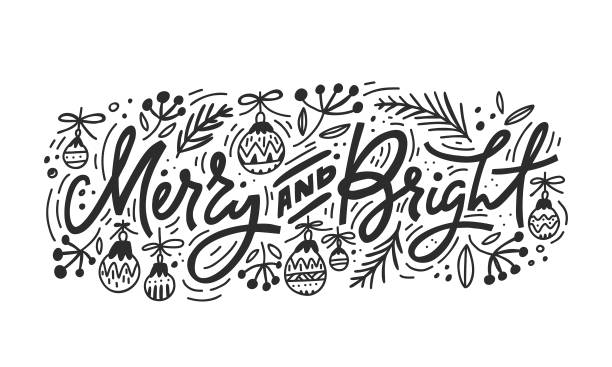 stockillustraties, clipart, cartoons en iconen met vrolijk en heldere kerst belettering - christmas