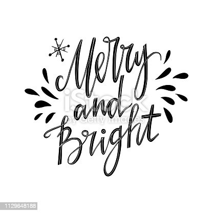 Merry and Bright hand lettering calligraphic. Christmas card.