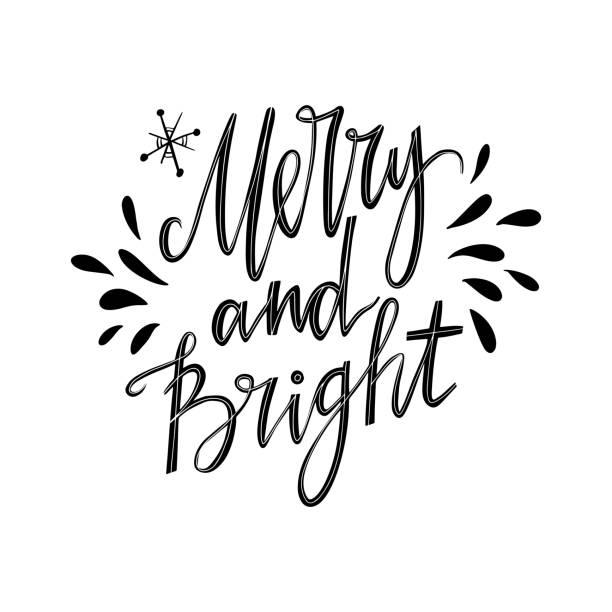 메리와 밝은 손 글자 영감 따옴표. 크리스마스 카드입니다. - 밝은 빛 stock illustrations