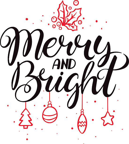 merry and bright - vibrant color stock illustrations