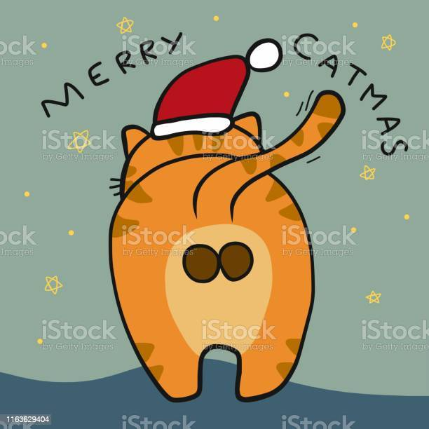 Merry catmas cat ass wear santa claus hat cartoon vector illustration vector id1163629404?b=1&k=6&m=1163629404&s=612x612&h=erukpata7fzjamul96yqbfw4xlarlxa9nmmkluoqzno=