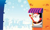 Vector of Santa standing at the window with city background. Lightboxes :