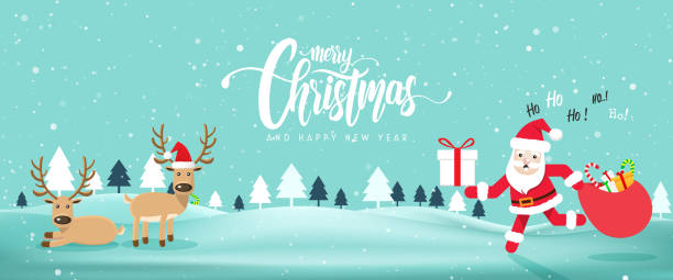 merry chrismas and happy new year website banner with cute santa clausvector illustration eps10
