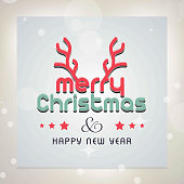 Merry Chrismtas card with horns and light background. For web design and application interface, also useful for infographics. Vector illustration.